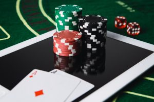 Online,Poker,Gambling,Concept.,Chips,And,Poker,Card,On,A